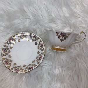 Vintage Queen Anne Teacup & Saucer Floral China